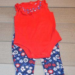 Ensemble cache- couche rouge et pantalon fleuri fille bébé
