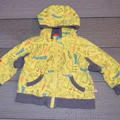 Veste jaune capuchon motif long bébé garçon