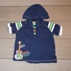 Chandail bleu marin capuchon guitare bébé garçon