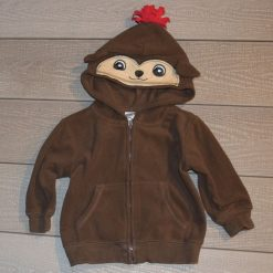 Veste capuchon brun singe bébé garçon
