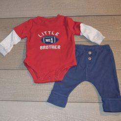 Ensemble cache- couche foot rouge pantalon bleu bébé garçon