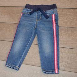 Jean bleu rayure rose fille enfant