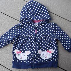 Veste à capuchon pois blanc sur bleu pour fille bébé