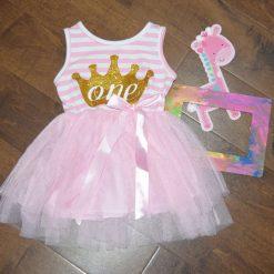 Robe premier anniversaire bébé rose