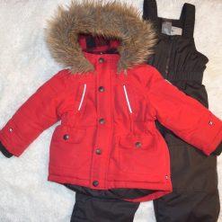 Habit de neige rouge et noir fille enfant