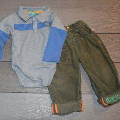 Ensemble cache- couche gris et pantalon vert long bébé garçon