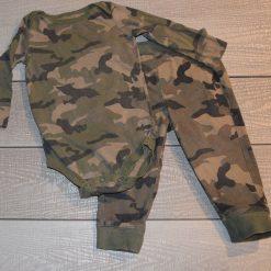 Ensemble cache- couche et pantalon armé vert bébé garçon