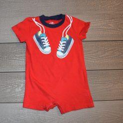 Combinaison court rouge imprimé soulier bébé garçon