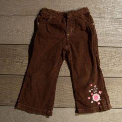 Pantalon velours brun fleur fille enfant